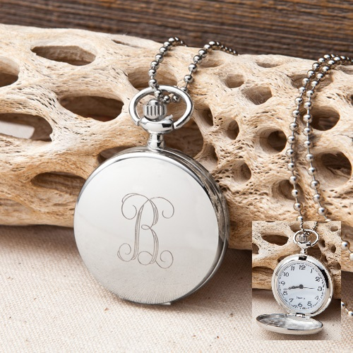 Engraved Women's Clock Pendant Necklace GC1223