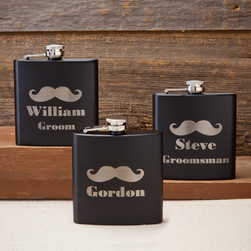 Laser Etched Black Matte 6oz Mustache Flask GC1224
