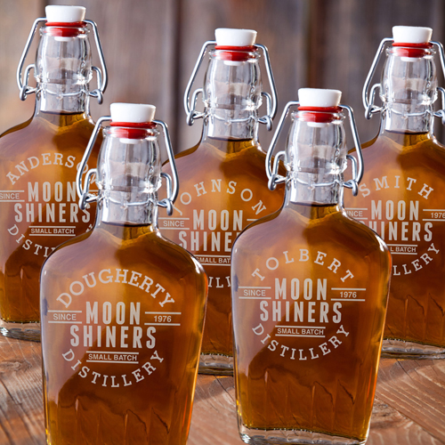 Set Of 5 Custom Vintage Glass Flasks For Groomsmen GC1227x5
