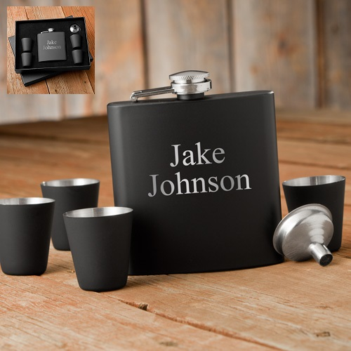 Personalized Matte Black Flask Gift Box Set GC1244