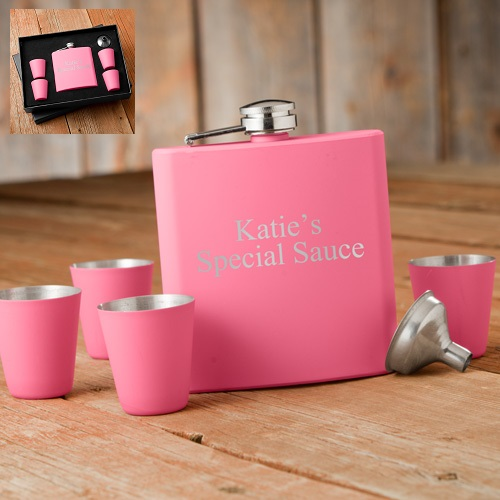 Personalized Matte Pink Flask Gift Box Set GC1245