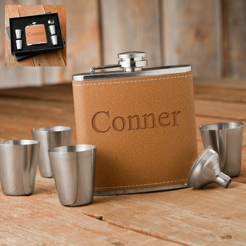 Personalized Leather Hide Stitch Flask Gift Box Set GC1246