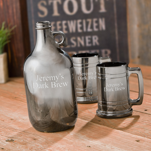 Personalized Gunmetal 64oz Beer Growler Set GC1252