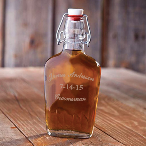 Custom Groomsman Vintage Glass Flask GC1255