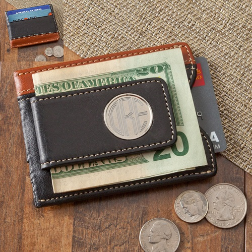 Engraved Two Toned Leather Magnetic Money Clip Wallet GC1262