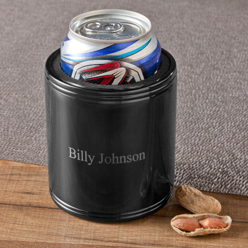 Engraved Stainless Steel Black Metal Koozie GC1267