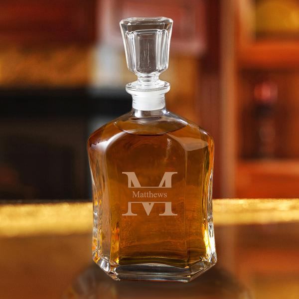 Monogrammed Whiskey Glass Decanter GC1269