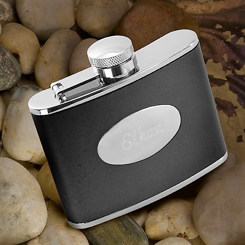 Engraved 4oz Stainless Steel and Sleek Black Leather Flask