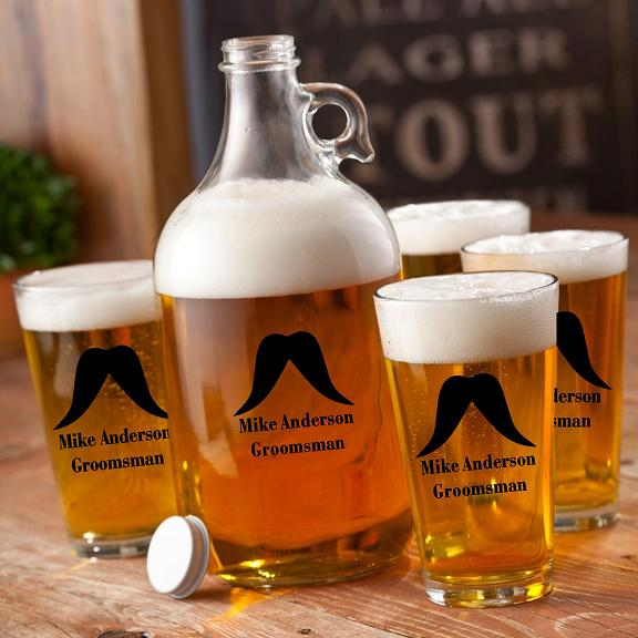 Custom Printed 64oz Mustache Man Growler Set GC1275