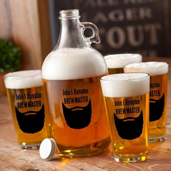 Personalized 64oz Movember Beard Growler Set GC1278