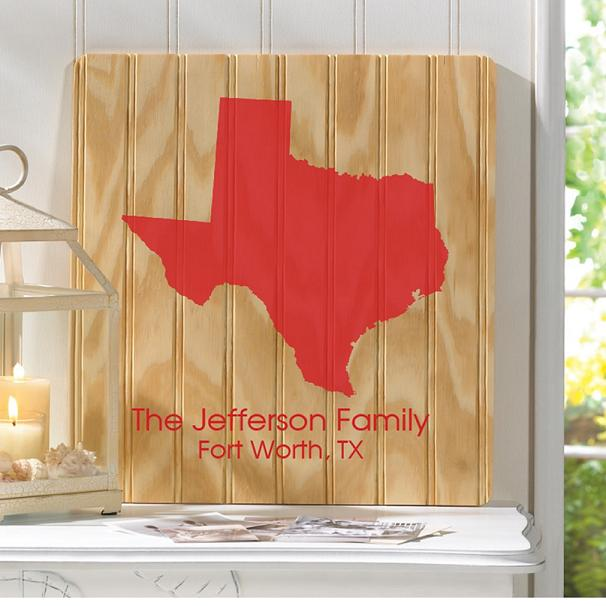 Personalized Home State Beaded Wood Sign GC1280