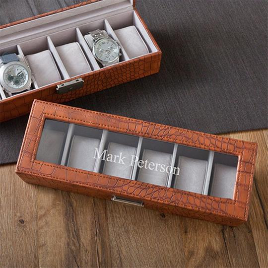 Personalized Brown Crocodile Watch Box GC1299