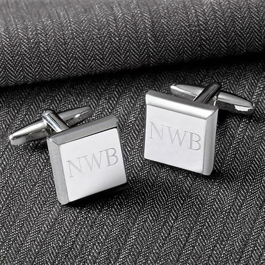 Engraved Square Modern Luxury Silver Cufflinks