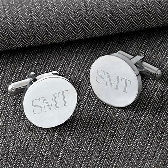 Engraved Formal Round Silver Cufflinks GC1301