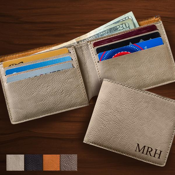 Monogrammed Stitch Leatherette Wallet GC1327