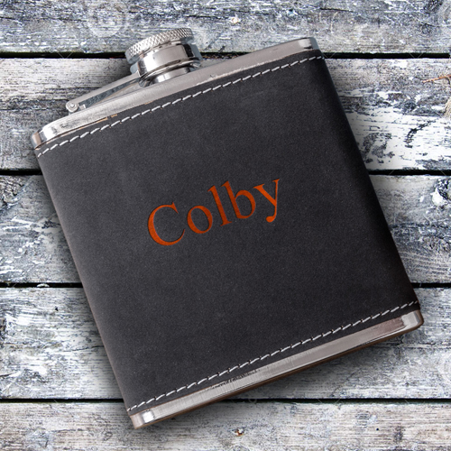 Personalized 6oz Suede Stitched Flask GC1329