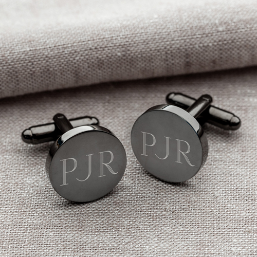 Engraved Gunmetal Round Cufflinks GC1331