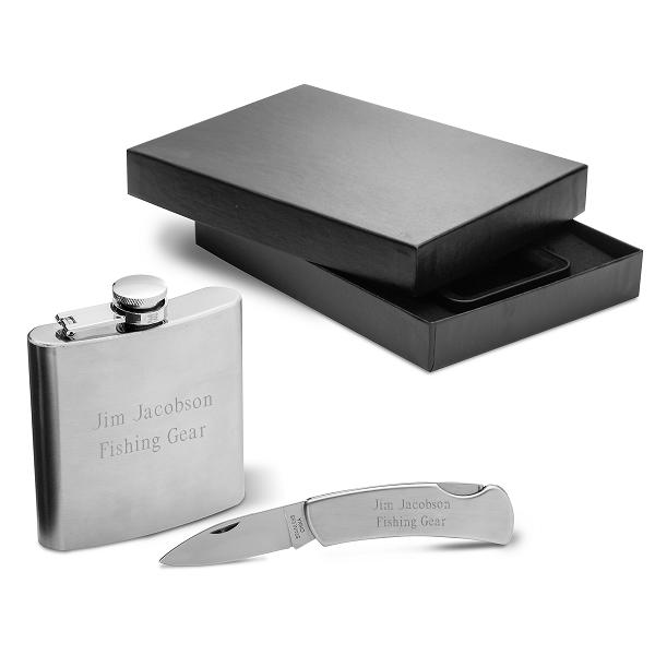 Engraved Steel Flask and Lock Back Knife Gift Set GC1349