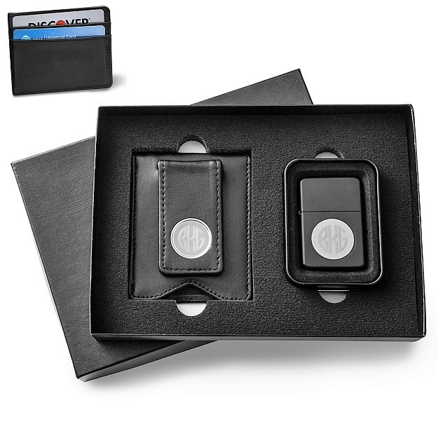 Personalized Black Leather Wallet and Lighter Set GC1354