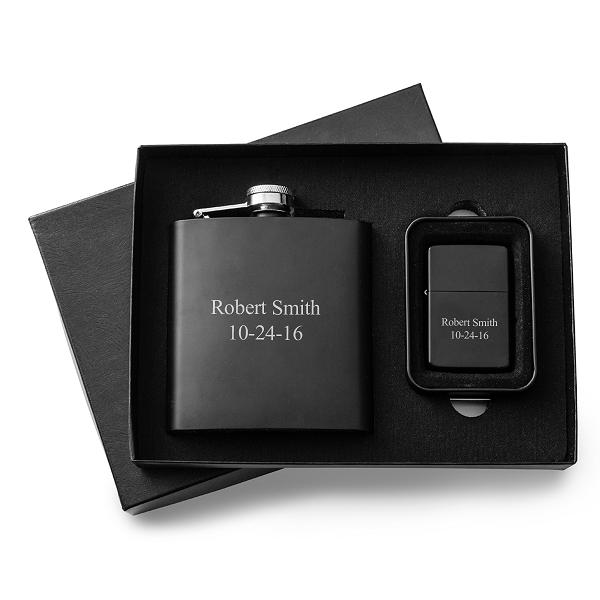 Personalized Malif Matte 6oz Flask and Lighter Gift Set GC1356
