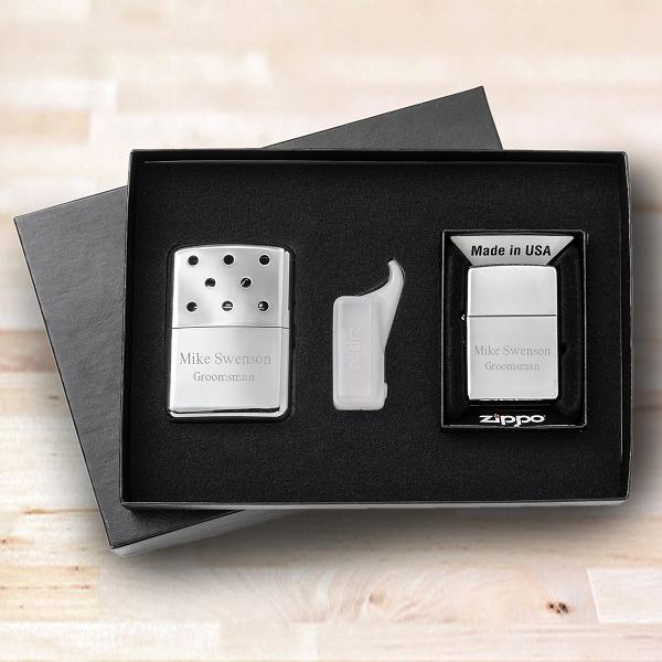 Engraved Zippo Lighter and Hand Warmer Set