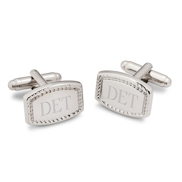 Engraved Beaded Rectangular Monogram Cufflinks GC1370