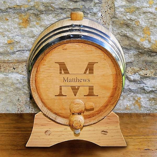 Monogrammed Oak Whiskey Barrel GC1387