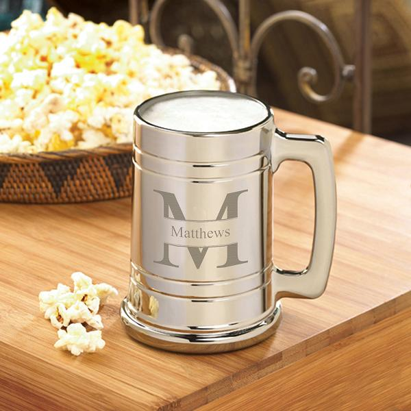 Engraved Gunmetal Coated 16oz Beer Glass Mug GC1390