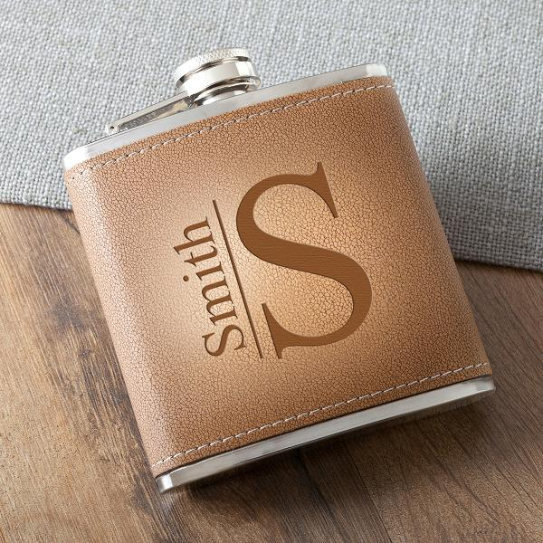 Monogrammed Tan Hide Stitched Flask GC1393