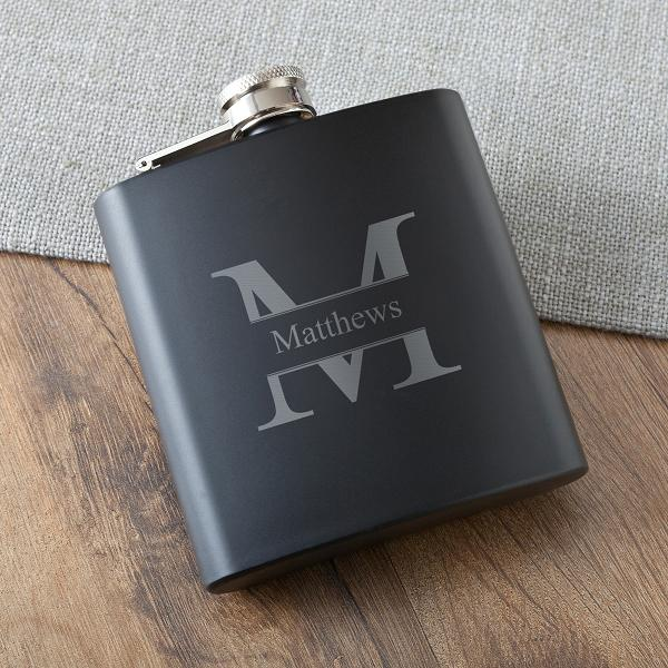 Monogrammed Black Buddy Matte Flask GC1394