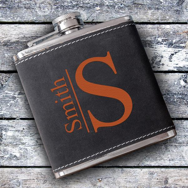 Monogrammed Suede Stitched Flask GC1397