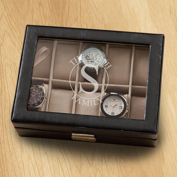 Monogrammed Leather Watch Box GC1400