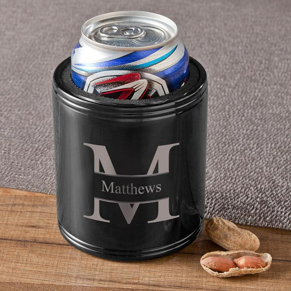 Personalized Stainless Steel Black Metal Can Cooler GC1401