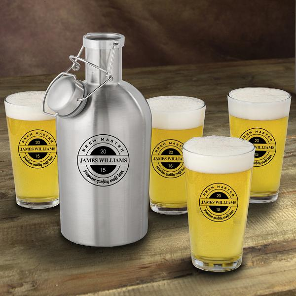 Personalized Stainless Steel Craft Beer Growler Set GC1437BREW-MASTER