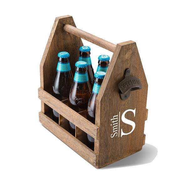 Personalized Wood Beer Caddy With Rustic Bottle Opener GC1439