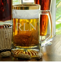 Engraved Glass Gold Rimmed 25oz Sports Mug GC149