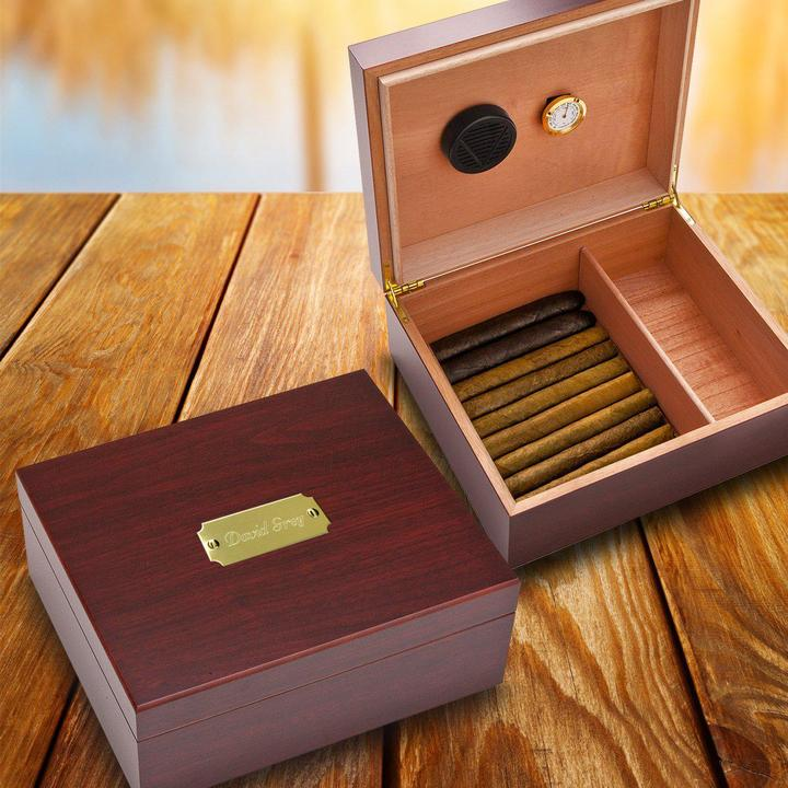 Engraved Cherry Finish Wood Humidor GC151