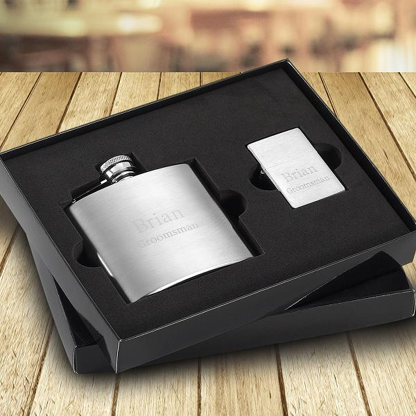 Engraved 6oz Brushed Flask and Lighter Gift Set GC1513