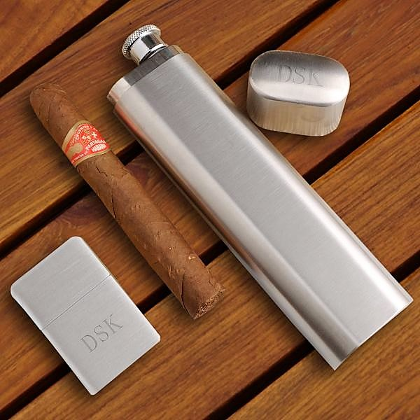 Engraved Cigar Case With Flask and Lighter Set