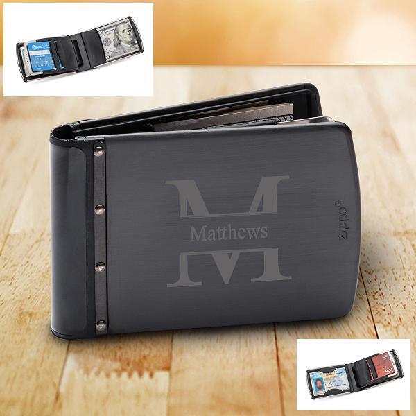 Personalized Titanium Black Zippo Wallet GC1517