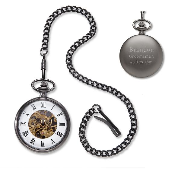 Engraved Gunmetal Exposed Gears Pocket Watch GC1518