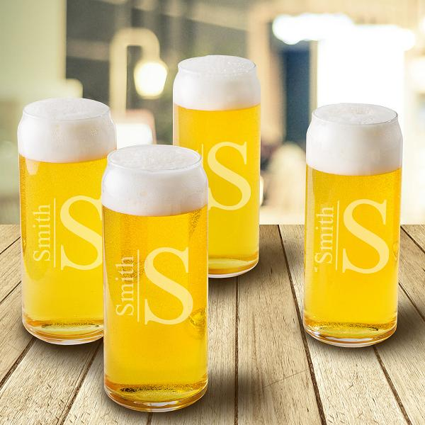 Personalized Tall Boy 16oz Beer 4 Glass Set GC1520