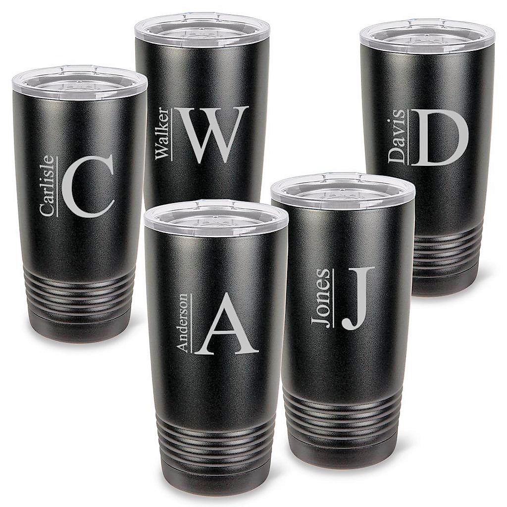 Personalized Matte Black 20 Oz. Tumblers Set Of 5 GC1522X5