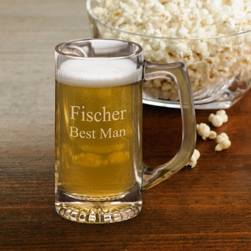 Engraved 12oz Glass Sports Brew Mug GC175