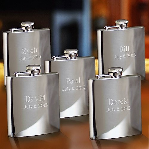 Engraved Polished Steel Flask Groomsmen Set GC178SET-OF-5