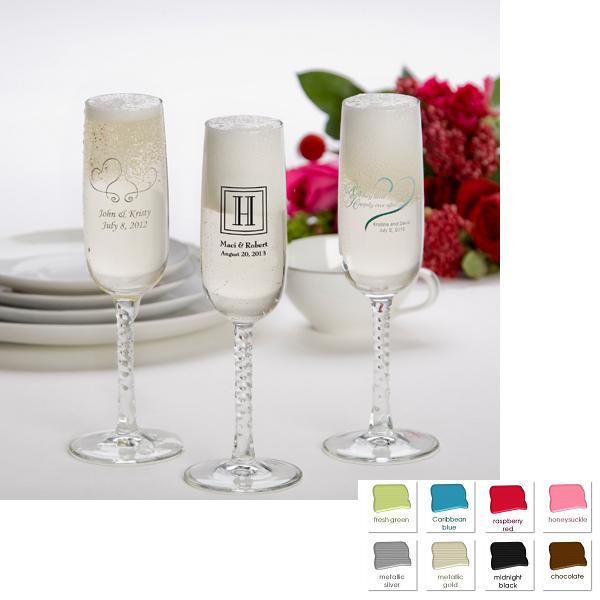 Set Of 24 Custom Printed Glass Champagne Flute Wedding Favors GC180