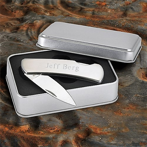 Engraved Stainless Steel Lockback Pocket Knife With Tin Box GC181