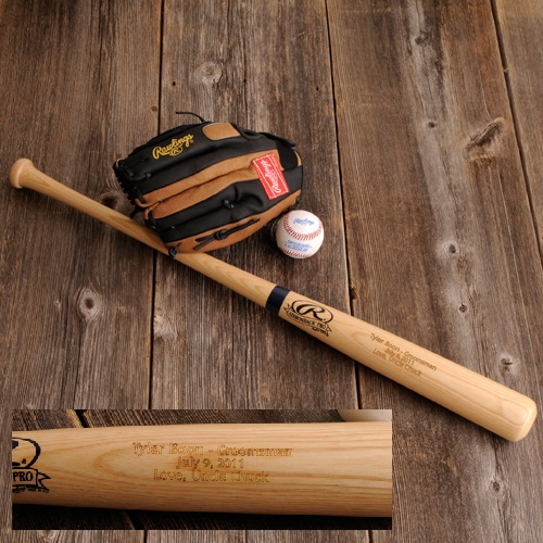 Engraved Rawlings Official Sized Wood Baseball Bat