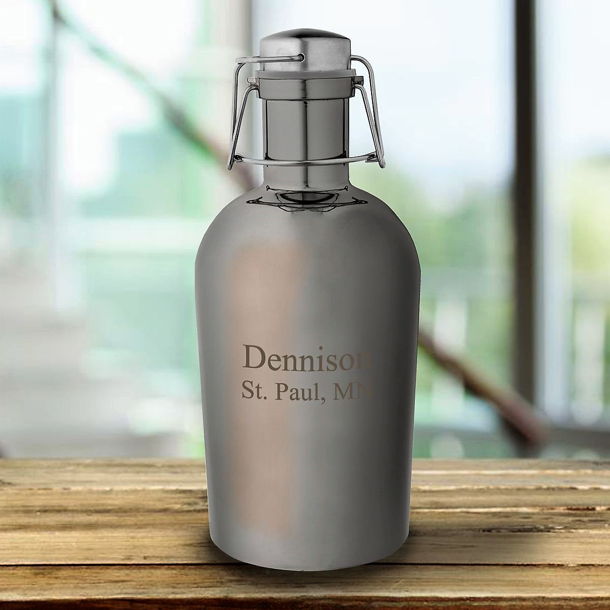 Personalized Gunmetal Keg Growler GC1870
