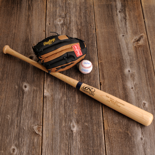 Engraved Rawlings Official Size Wood Baseball Bat GC187
